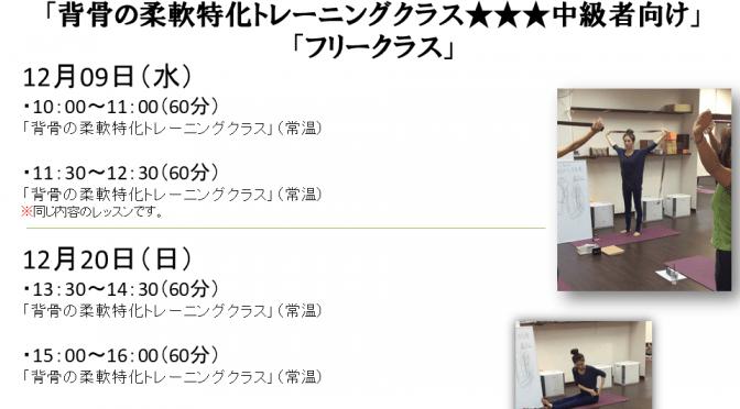 12月9日(水)・12月20日(日) 夕雨先生 代行・特別レッスン